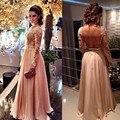 Rosa Lace Chiffon Prom vestidos Sexy Backless Prom vestidos pescoço com arco vestido de festa Formal apliques mortos 2016