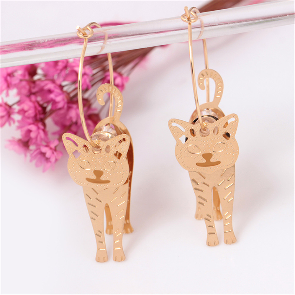 Susenstone 2019 1 Pair Small Cat Metal Earrings Lovable Animal Cat Ear Ornament Jewellery high quality