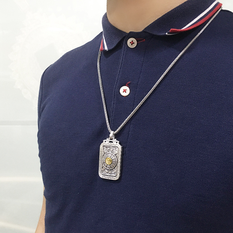 Rétro solide réel 925 argent Sterling collier vintage chanceux chinois rotation YIN YANG Tai chi collier pendentif pour hommes - 2
