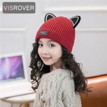 Visrover5 цветов милые детские вязаные шапки с кошачьими ушками шапки Unsix теплая
