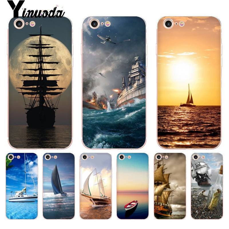 Half-wrapped Case Tireless Yinuoda For Iphone 7 6 X Case Ship Moon Ocean Sunset Coque Shell Phone Case For Iphone 8 7 6 6s Plus X 10 5 5s Se 5c Xs Xr