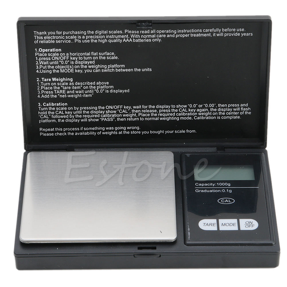1000g x 0.1g Digital Scale Mini Electronic Jewelry Pocket Gram LCD