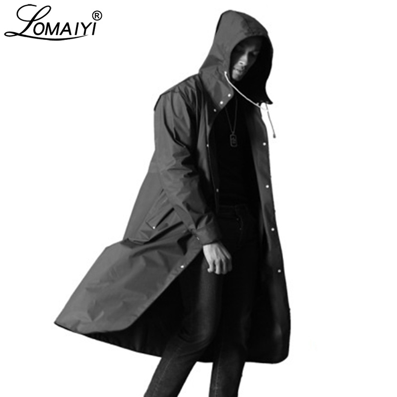 LOMAIYI Men's Waterproof Jacket Men Breathable Rain Coat Male Fashion Long Trench Coats Mens Letter Print Black Jackets AM364