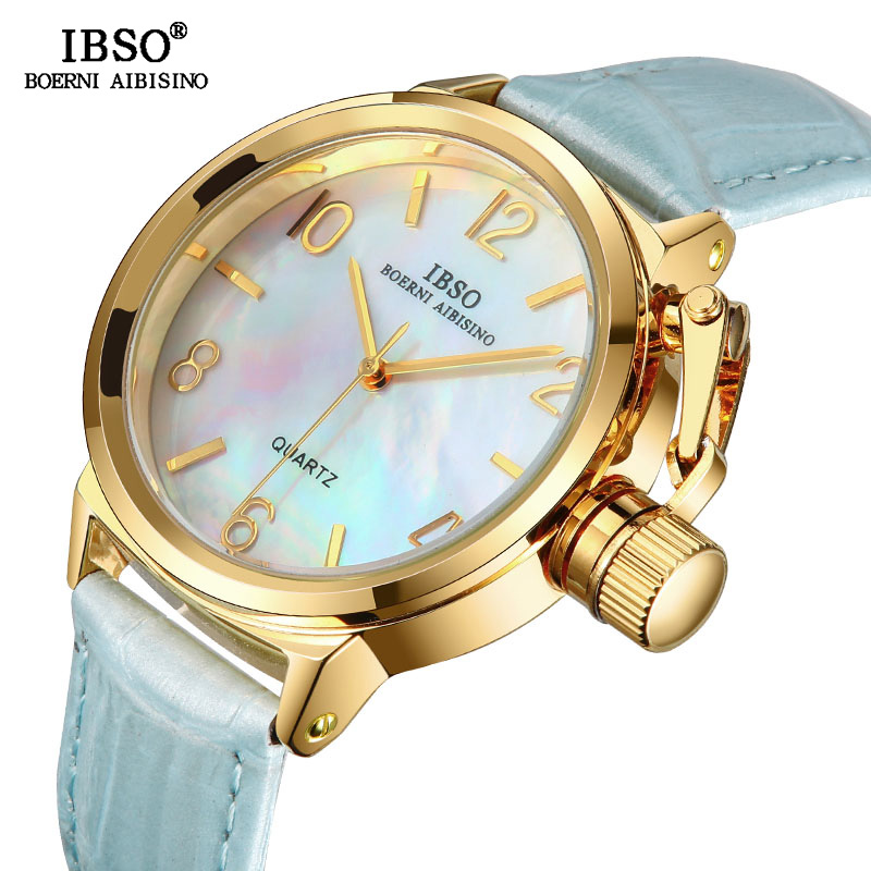 IBSO Top marque de luxe femmes Montre de haute qualité en cuir véritable mode Montre femmes mode Unique Style Montre Femme cadeau