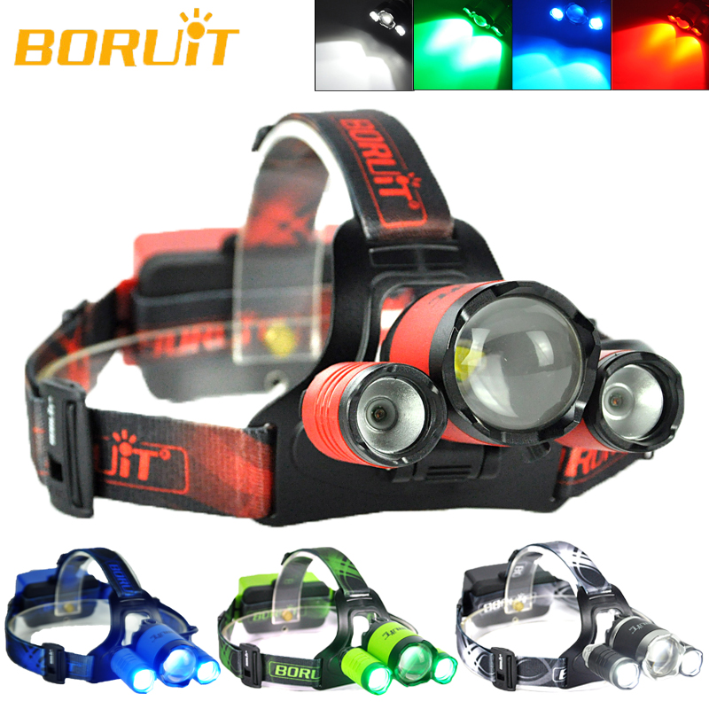 B22 BORUIT Zoomable XM-L2+2XPE 3LED Headlamp Headlight RED BLUE GREEN WHITE Light Flashlight Torch Lamp купить