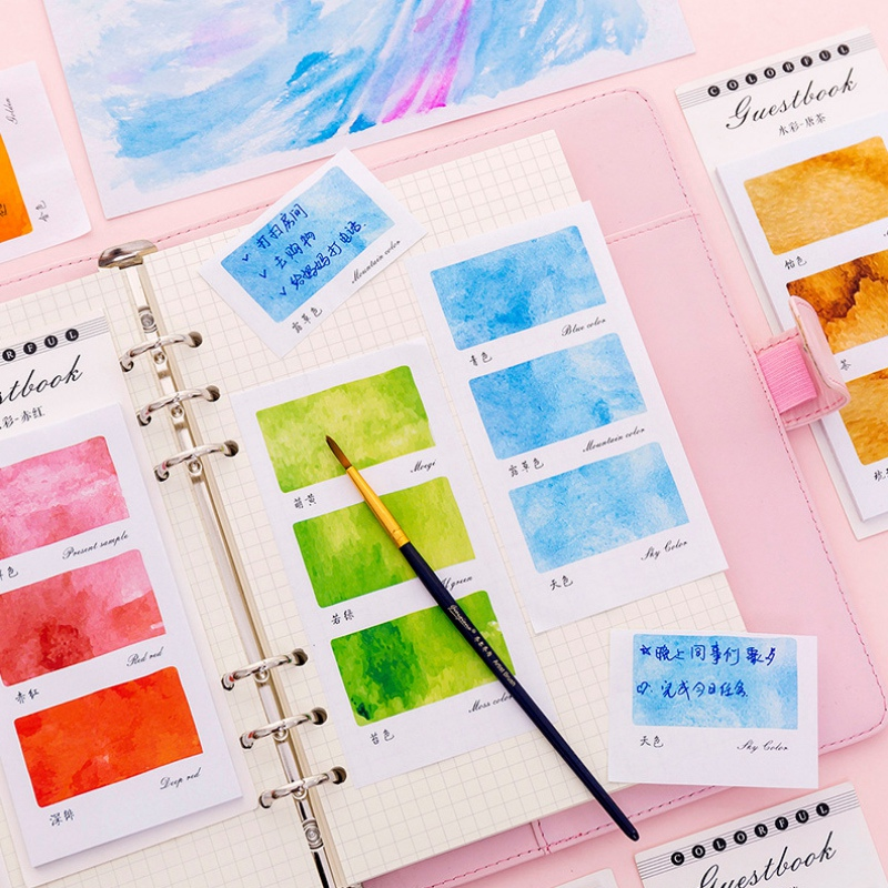 1 Pc Colorful Dream Watercolor Memo Pad Paper Sticky Notes Planner Sticker Paste Kawaii Stationery Study Office