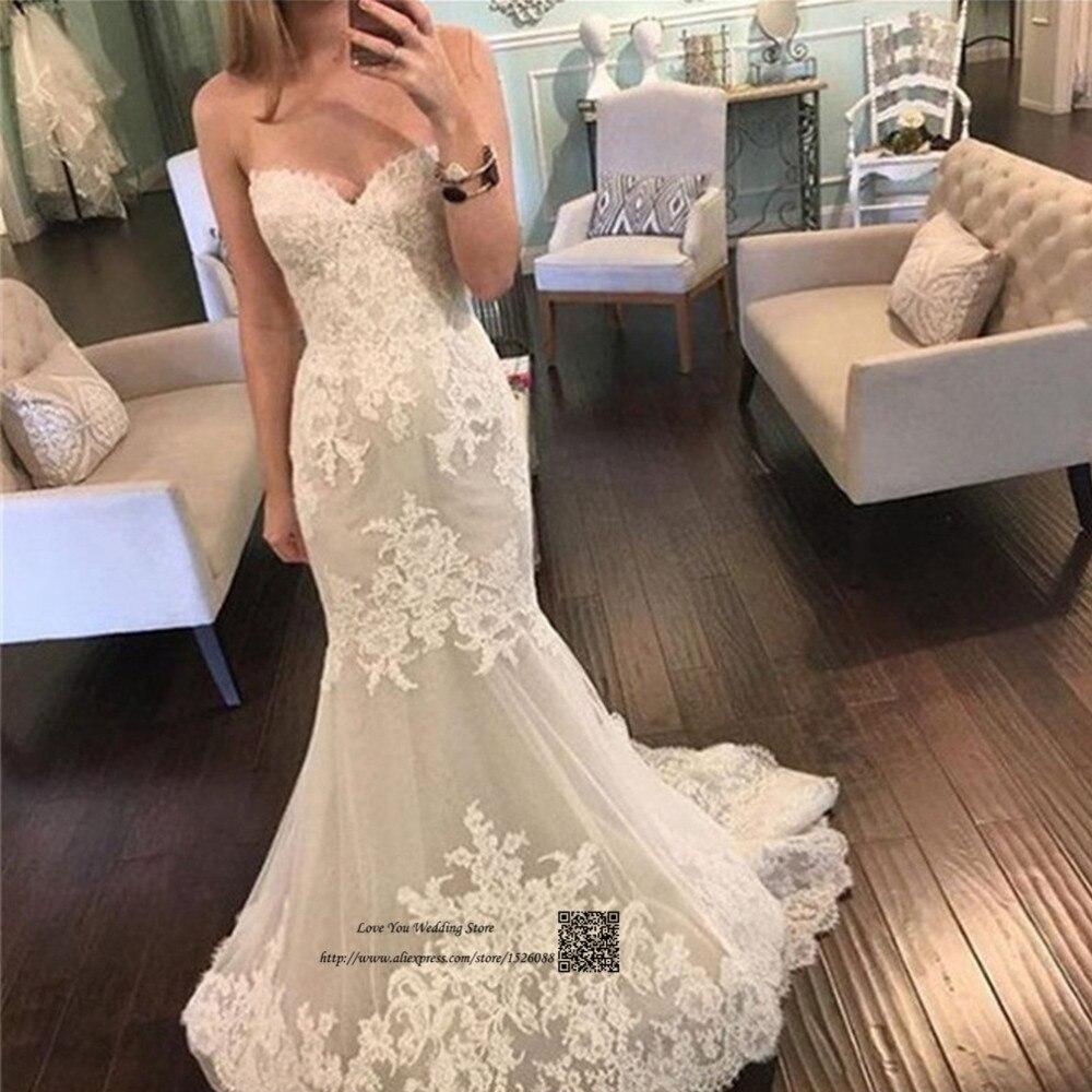 Vintage White Wedding Dress Mermaid Lace Wedding Gowns Sweetheart Vestido De Casamento Real Brush Train Bride Dresses 2017