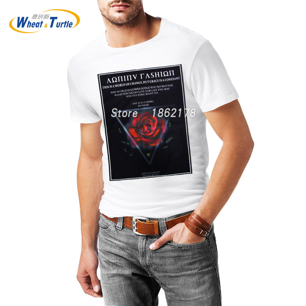 T shirt printing at white rose - 2017 Printed Red Rose Men S T Shirt White Cotton 3d Men S Graphic T Shirt Unisex Street Fashion Tee Shirts Compression Shirt