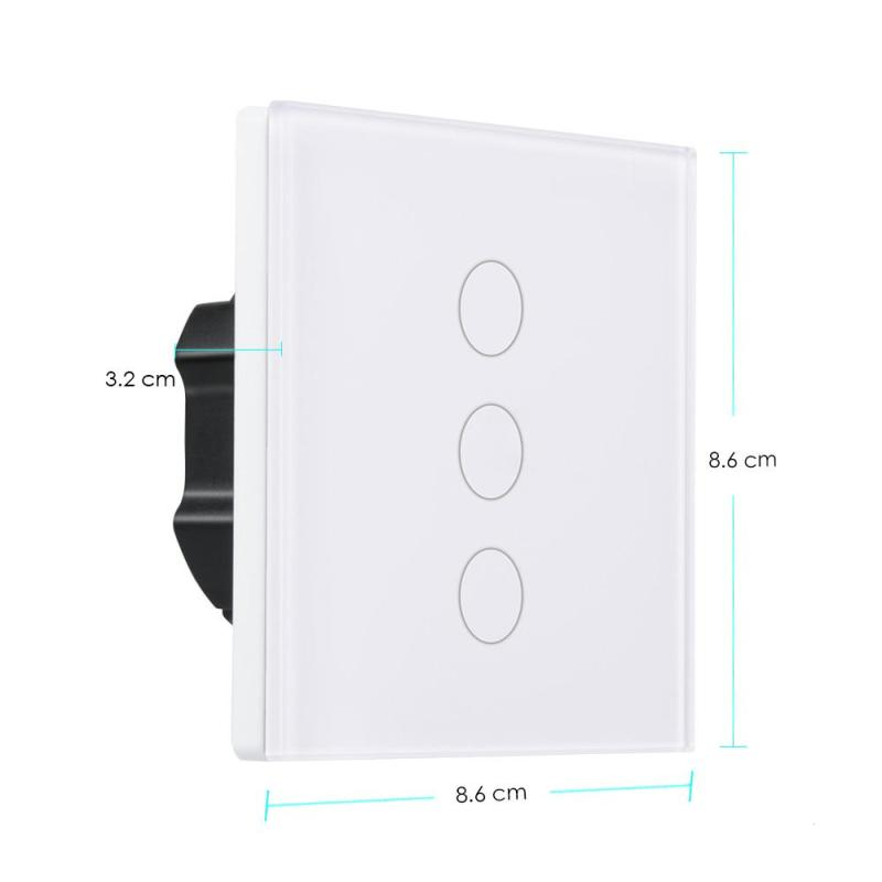 LEMAIC 3 Gang WiFi Smart Switch Alexa Switch Share APP Control Work with Amazon Wall Smart Scene Smart Switch for EU Plug