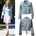 Cool Women Girl Vintage Style Denim Coat Boyfriend long Sleeve Casual Fashion Jean Jacket Light blue