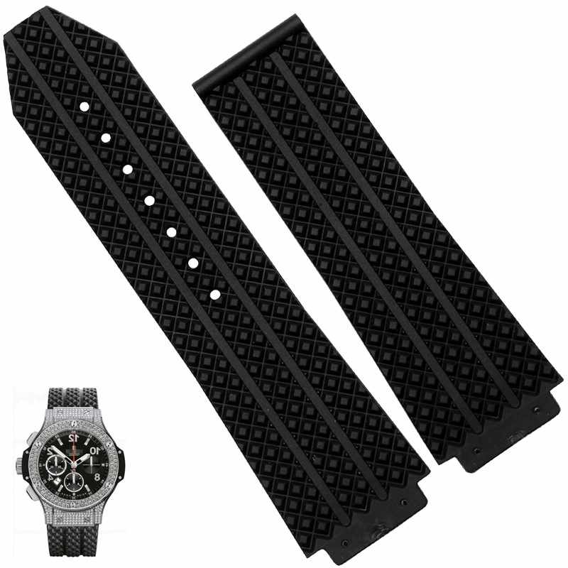 26mm Replacement Black Silicone Rubber Watchband Strap For Hublot Big Bang Strap