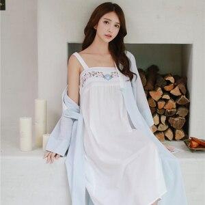 Image 2 - ローブナイトガウンガール女性パジャマ刺繍ロングローブ中国のレトロなスタイルローブセット