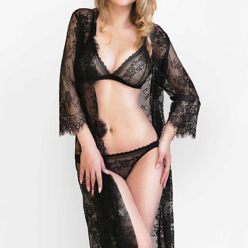 hollow bra set panties women wire free lace underwear set Ultra-thin transparent  lace bra sets underwear women lingerie