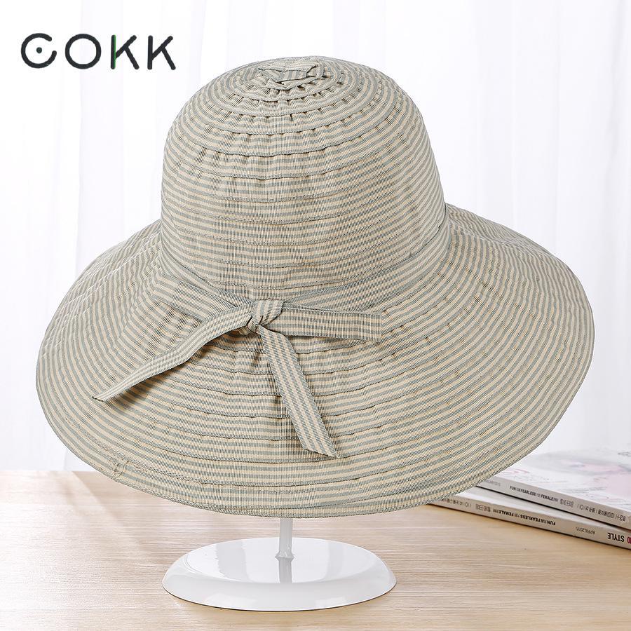 ∞Cokk Sol sombrero sombreros de verano para las mujeres la raya del ...