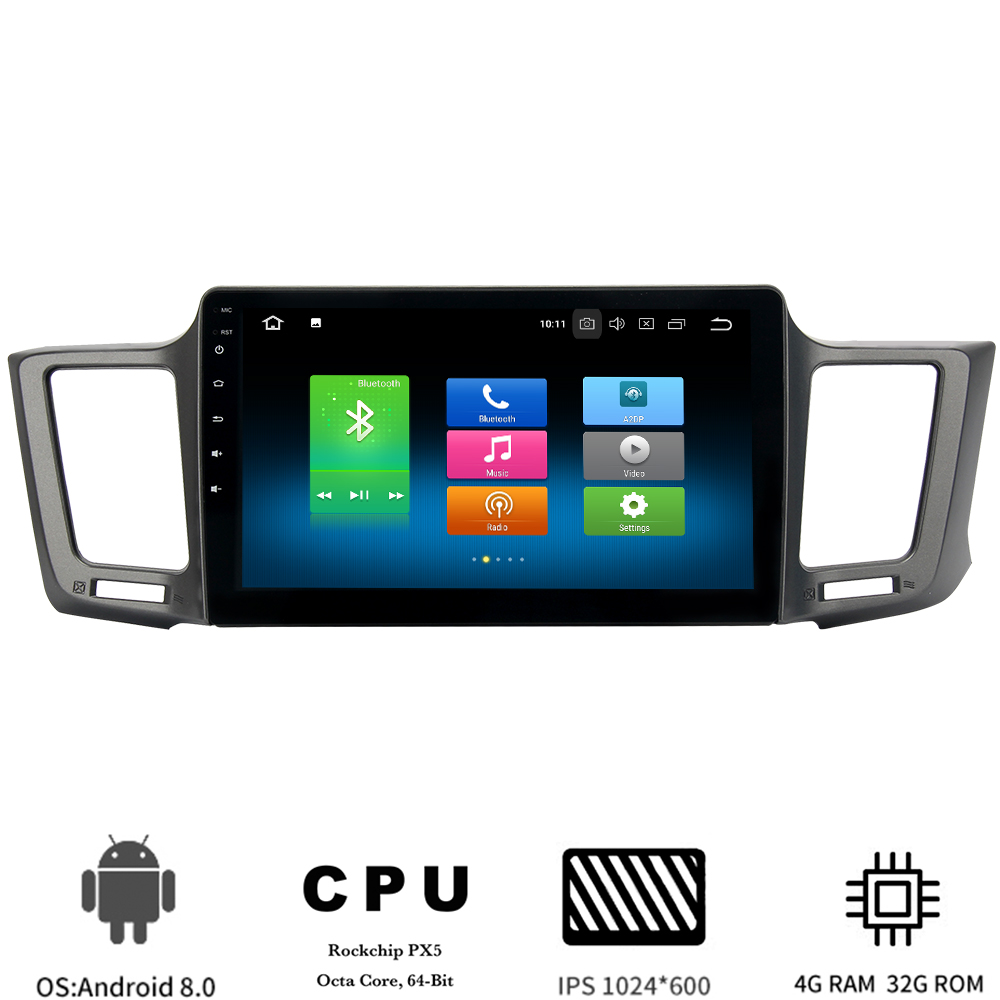 10.2 IPS screen Android 8.0 stereo Head Unit For Toyota RAV4 2013-2017 Rav 4 Multimedia player Car Radio GPS 8-core 4Gb+32Gb