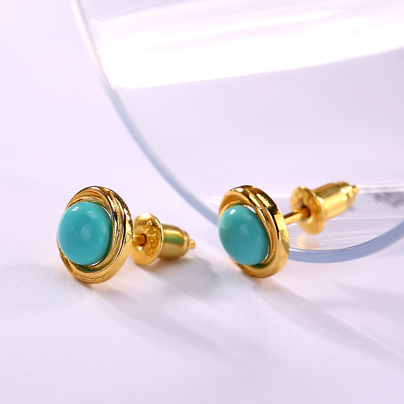 Fashion Natural Turquoise 100% 925 Sterling Silver Earrings For Women,Natural Genstone Glod Color Fine Earrings Jewel Hot Sale