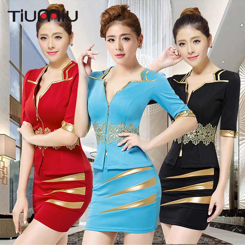 S-3XL Women Sexy Aviation Uniforms Bodysuit Mini Dress Short Sleeves KTV Nightclub Sauna Therapy Hotel Workwear Suit Shirt+Skirt