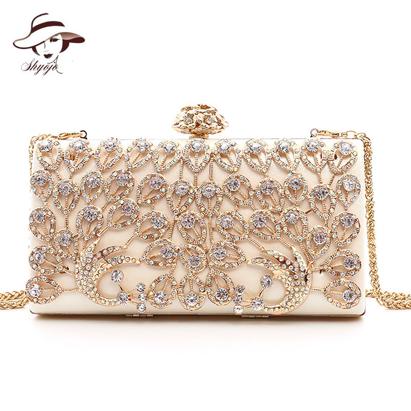 Luxury New Gold Evening Bags Crystal Clutch Diamond Wedding Bag With Chain Women Party Purse Gils Handbags Hollow Out ClutchesLuxury New Gold Evening Bags Crystal Clutch Diamond Wedding Bag With Chain Women Party Purse Gils Handbags Hollow Out Clutches