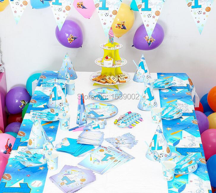 78 pcs free shipping for 6 peoples sports boy blue birthday theme party tableware set baby