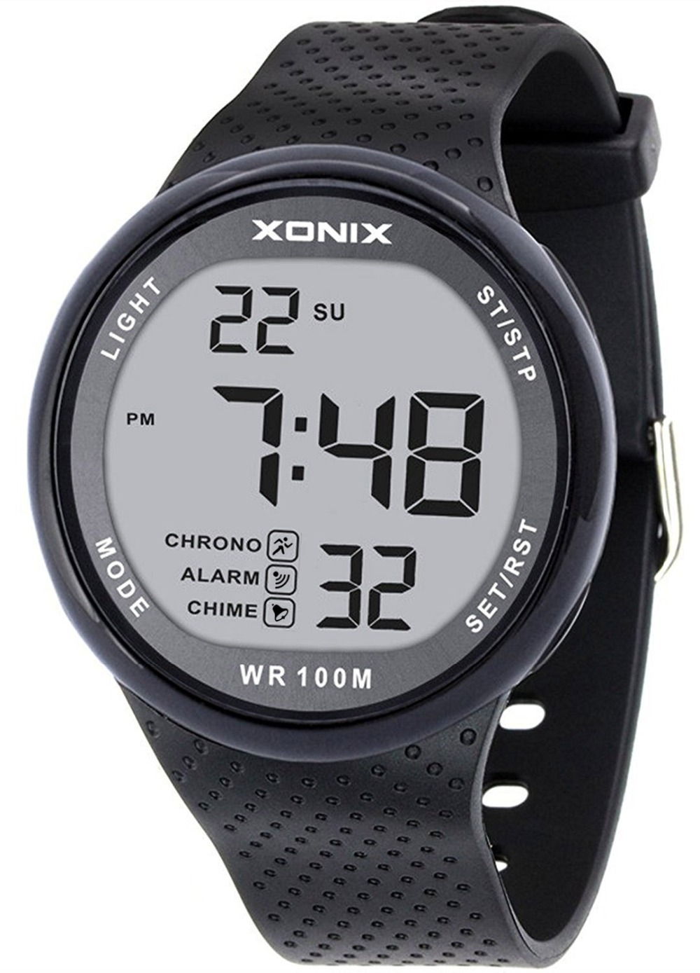 TOMORO Vogue Men's 100M Waterproof Sports Black Resin Large Digits Digital Dive Watch (Can Be Pressed Underwater)