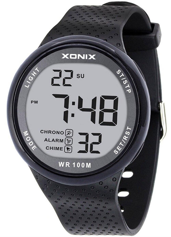 TOMORO Vogue Men's 100M Waterproof Sports Black Resin Large Digits Digital Dive Watch (Can Be Pressed Underwater)