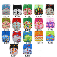 10Pack Baby Cloth Diapers Waterproof AI2 Pocket Cloth Diaper Cartoon Printed Reusable Diapers For Baby With