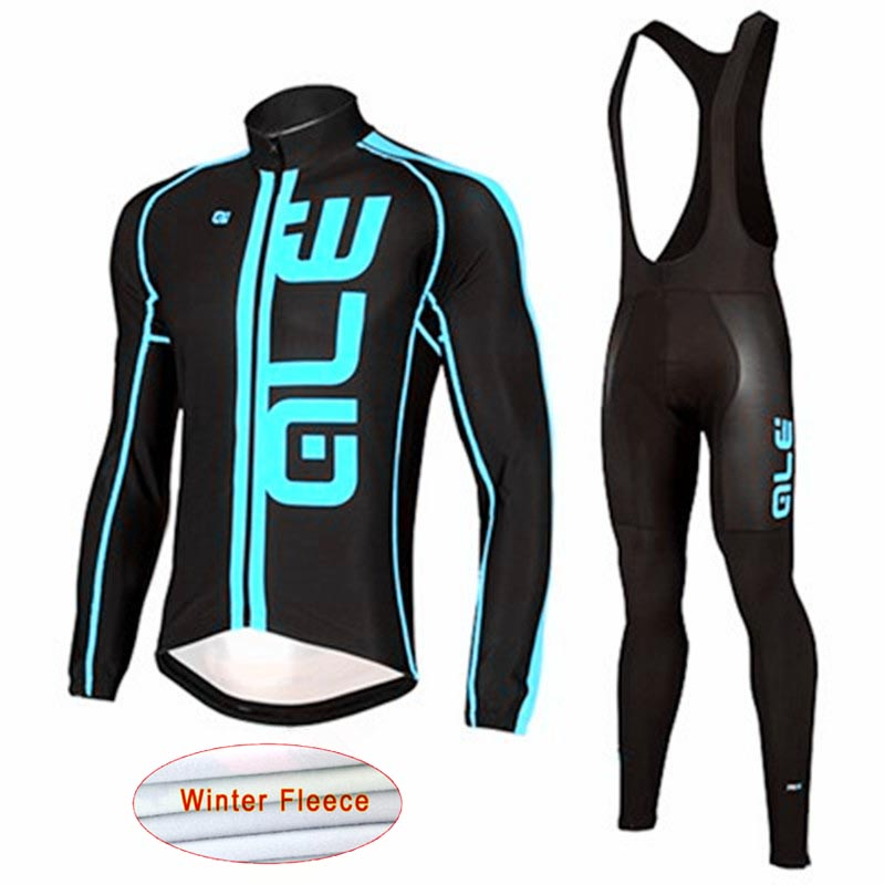 ALE Pro Team Winter thermal Cycling Jersey Long Sleeve Suit ropa ciclismo invierno hombre bicicleta maillot Wear Bib Pants L9