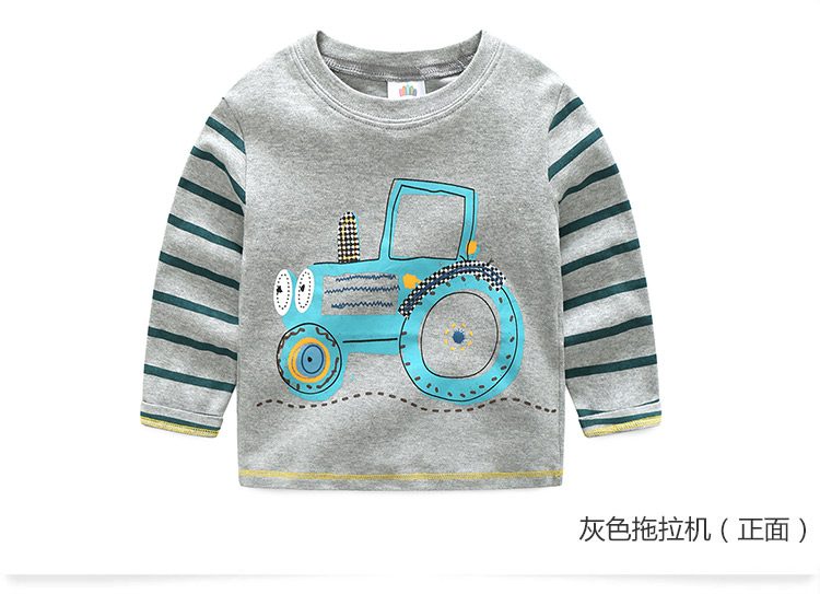2018 Spring Autumn For 2-9 10 Years Children Cotton Striped Patchwork Cartoon Car Bus Truck Baby Kids Boys Long Sleeve T Shirts (36)