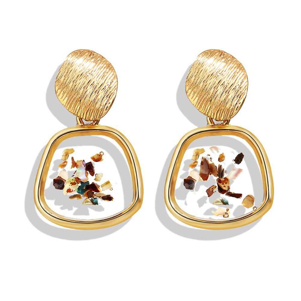 Creative Vintage Enamel Seashell Geometric Irregular Square Earrings Women Za Earrings Jewelry Female Boho Ethnic Drop Earrings