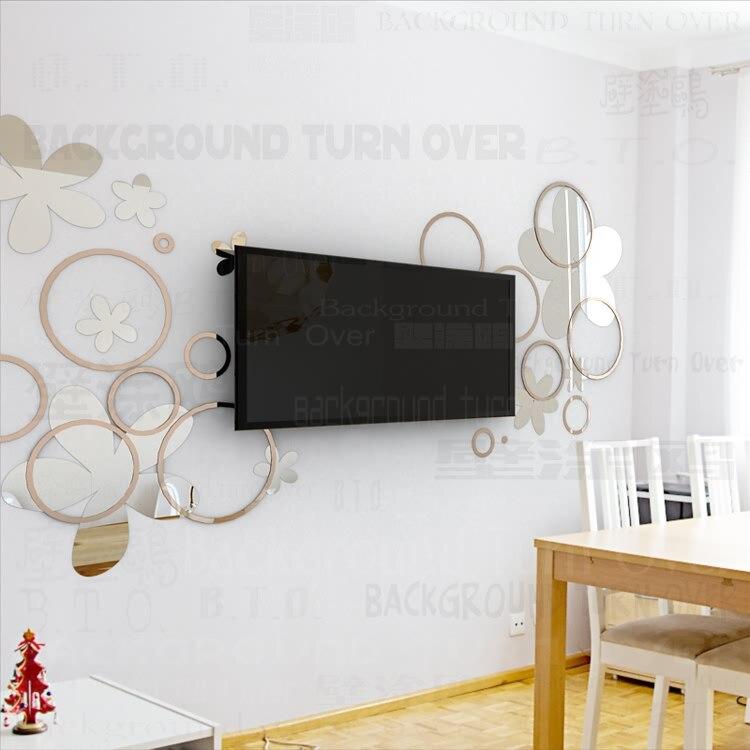 Bricolage diverses couleurs mode créative printemps nature cercle fleur 3D TV mur adhésif miroir mural sticker R017 - 6