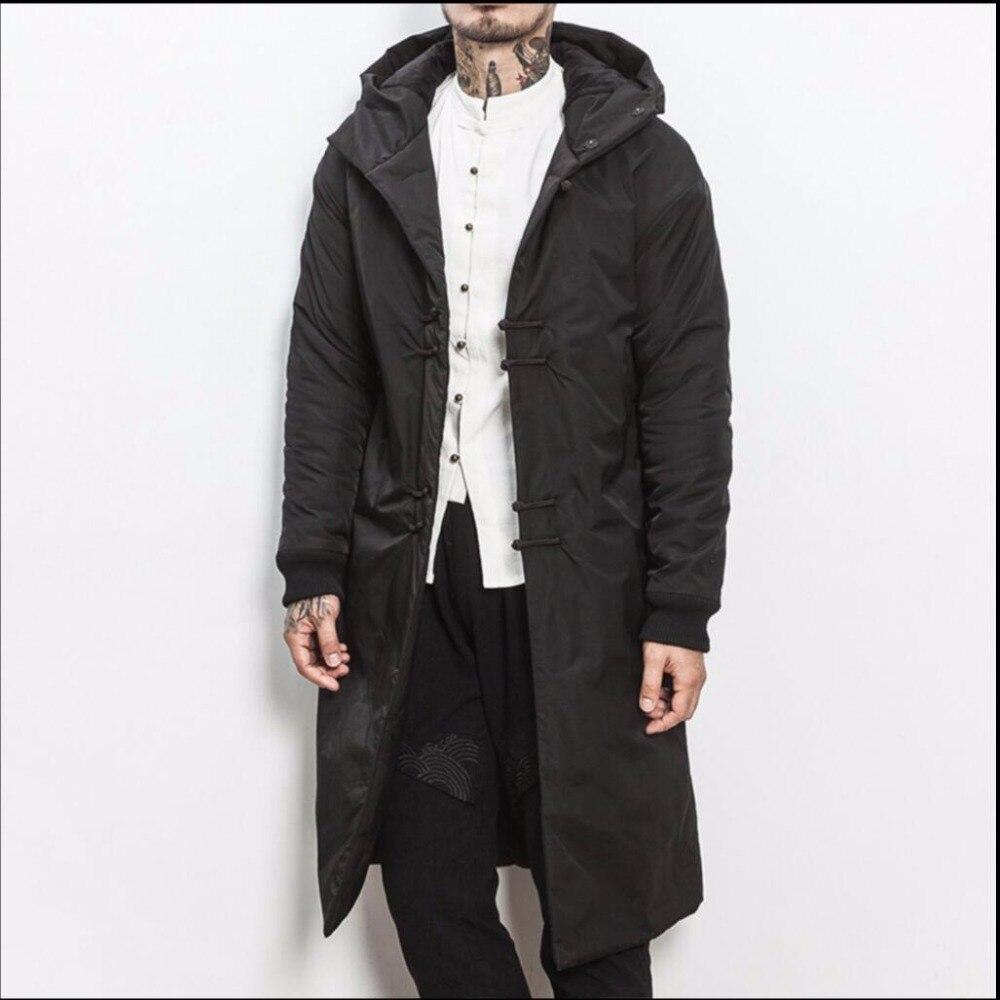 M-5XL новая зимняя китайском стиле хлопчатобумажное Пальто Длинные Утепленные Пальто Мужская мода ретро пластины Пуговицы хлопковая черная ...