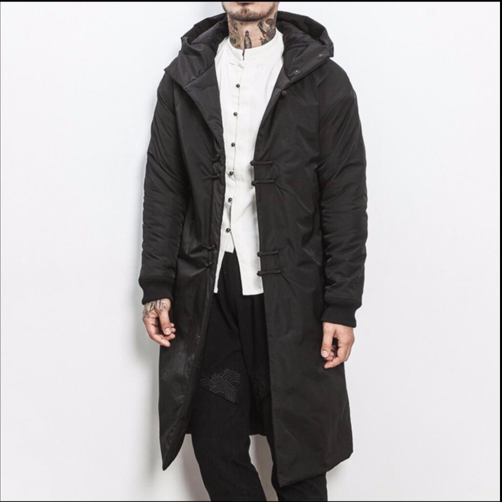 M-5XL New Winter Chinese style cotton coat long thicken coat men's fashion retro plate Buttons cotton black hooded jacket parkas winter chinese style retro frog contrast color frog and print jacket coat cotton padded jacket windbreaker