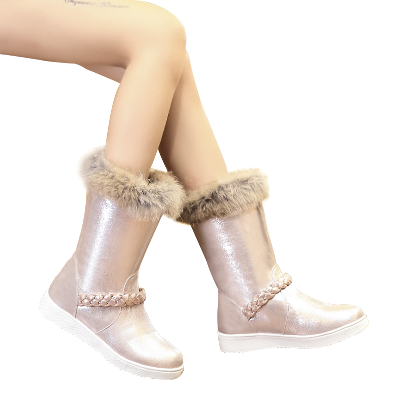 Snow Pink Real Gdgydh Winter Ladies Inside Shoes Silver Con Cappotti rosso argento Size Fur New Plush Donna Boots 2018 Hot Rosa Flat Big 7zEfqz