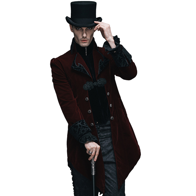 72333a928 Devil Fashion Gothic Palace Men's Swallowtail Jackets Steampunk Black Red  Autumn Winter Casual Long Coats Velvet Overcoats