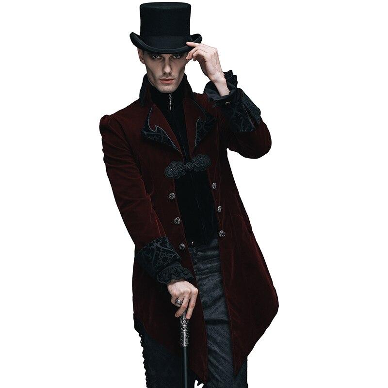 Diavolo di Modo Gotico Palazzo degli uomini A Coda di Rondine Giubbotti Steampunk Nero Rosso Autunno Inverno Casual Lungo Cappotti di Velluto Cappotti