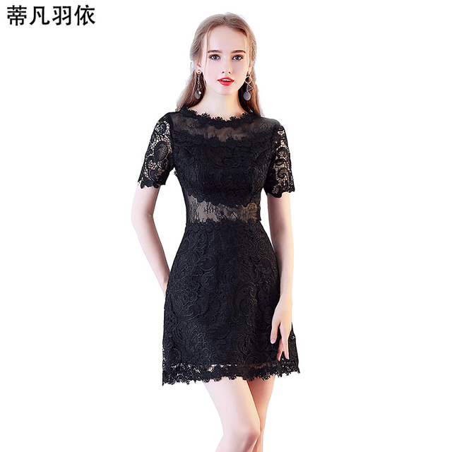 076e73f1c4a Sexy Hollow Out Black Lace A-line Short Prom Dress Hollow Out 2018 New  Arrival Illusion Appliqued Banquet Evening Gown Vestidos