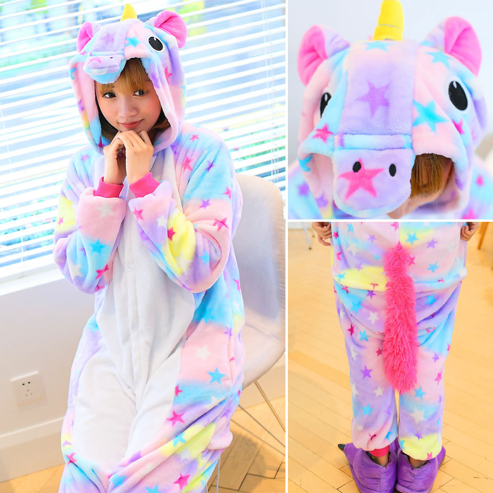 VEVEFHUANG Winter Cute Animal Flannel Warm Hoodie Pajamas Star Unicorn Pajamas Adult Cosplay Costume Sleepwear For Women Men