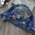 2017 nova primavera roupas meninas das crianças de comércio exterior roupas parágrafo curto denim macio crianças bordado jaqueta de cowboy