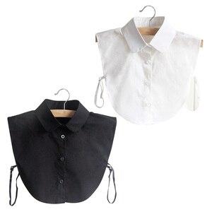 Fashion Doll Collar Vintage Elegant Women's Fake Half Shirt Detachable Blouse Black White Colors XRQ88