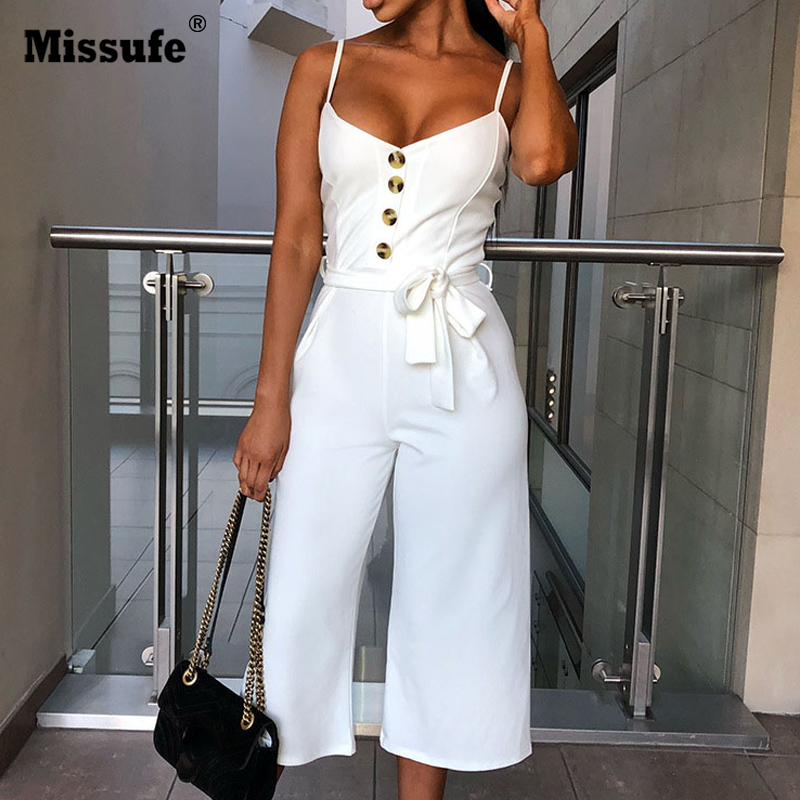 Missufe Lace Up V Neck Long Playsuit Spaghetti Strap Button   Jumpsuit   Solid Straight Rompers Summer Sleeveless Overalls For Women