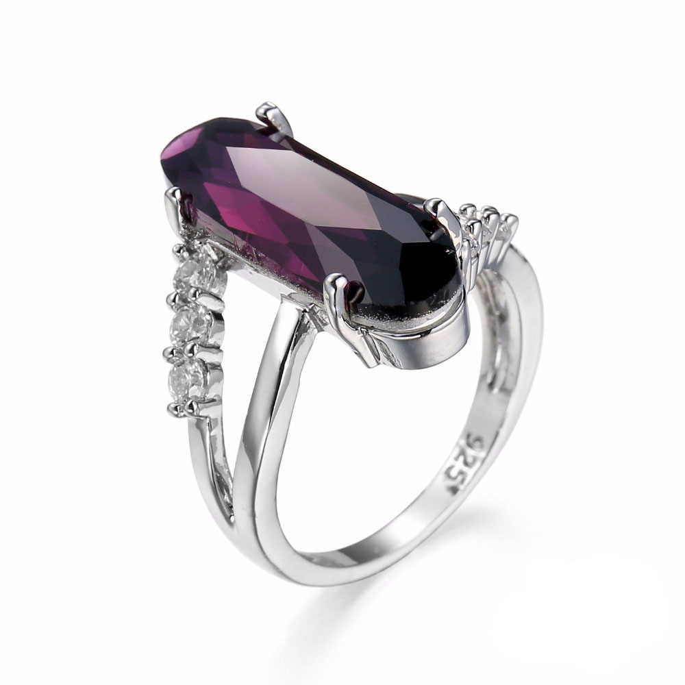 Classic Luxury Real Solid 925 Sterling Silver Ring 2 CT Purple Zircon Crystal Wedding Jewelry Ring Engagement For Women Jewelry