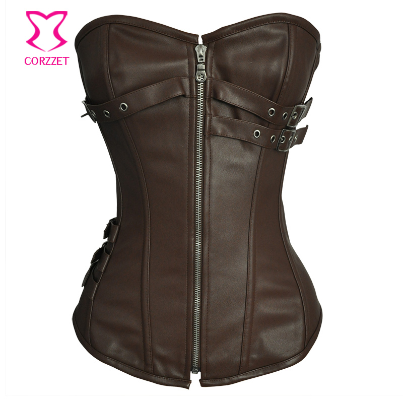 Zipper Brown Leather   Bustier     Corset   Gothique Sexy Corpetes E Espartilhos Plus Size Steampunk Clothing Corselet Overbust S-6XL