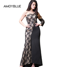 Amoyblue High Quality 2017 Spring Latest Women Long Dresses Black/Red/Blue Sleeveless Lace Casual Going Out Maxi Dress for Sale