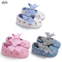 Fashion Embroidered Flower Princess Shoes for Toddler Baby Girls Big Bow Soft Sole Newborn Moccasins 0-18 Months