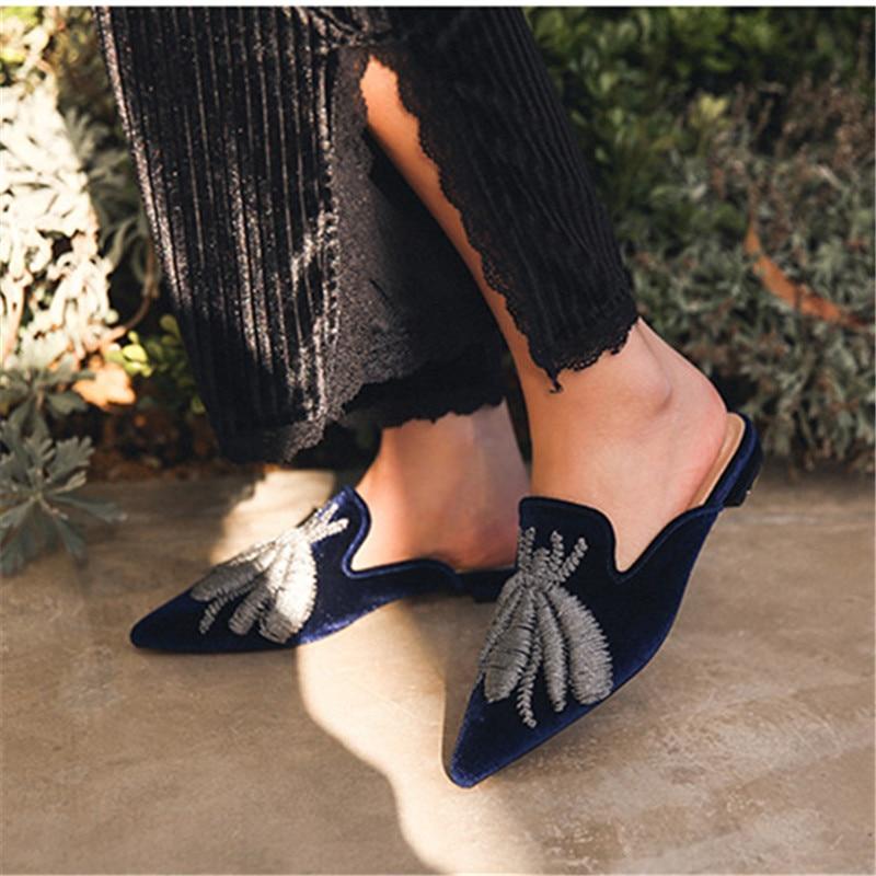Mocasines Bordado dark Diapositivas Ocasionales Fuera Zapatos Pisos Punta Planos Red Blue Araña rose Zapatillas Mujer Jady azul De blanco Mulas Rosa Negro Damas qUCwvv