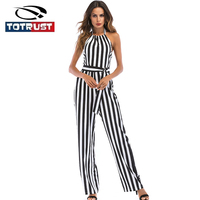 TOTRUST Halter Neck Jumpsuits Summer 2018 Backless Overall Women Jumpsuit Siamese women Stripe Romper Playsuit Combinaison Femme