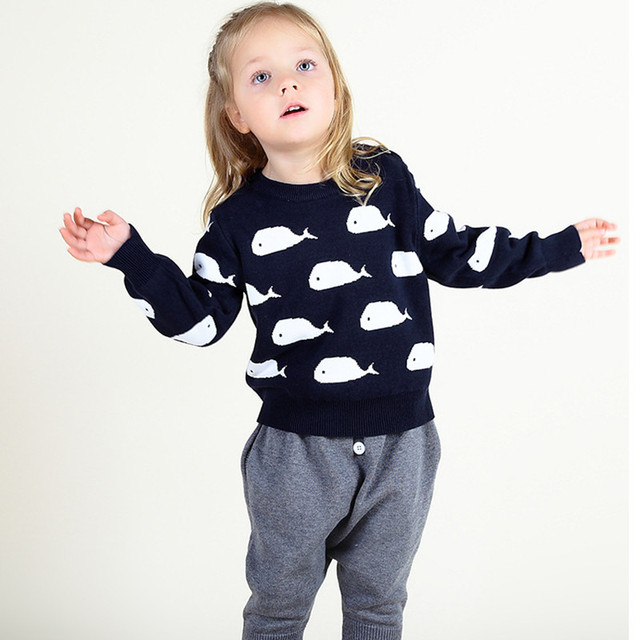 1 5 Years Baby Boy Girl Sweaters Whales Pattern Knitted Pullover