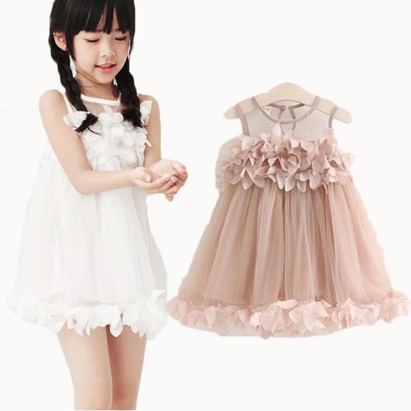 2019 Letnia siatkowa kamizelka Dziewczęca sukienka Dziewczynka Księżniczka Sukienka Moda Dekoracja płatków bez rękawów Impreza Ubrania dla dzieci
