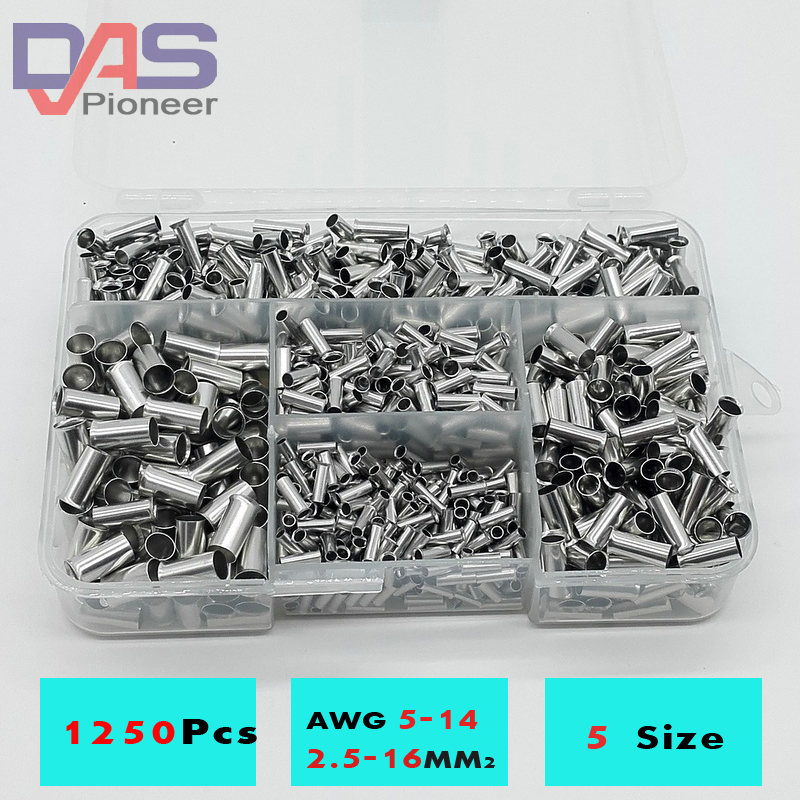 1250cs/lot mixed 5 models bared Bootlace Ferrule Kit 2.5 -16 mm Non Insulated Electrical Crimp cord wire end terminal wholesal e1008 insulated cable cord end bootlace ferrule terminals tubular wire connector for 1 0mm2 wire 1000pcs