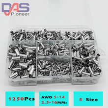 1250cs/lot mixed 5 models bared Bootlace Ferrule Kit 2.5 -16 mm Non Insulated Electrical Crimp cord wire end terminal bared blade